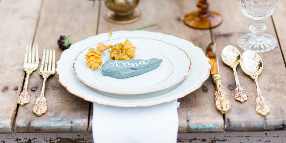 Calligraphy by Carole Wedding Calligraphy Rock Table Placement